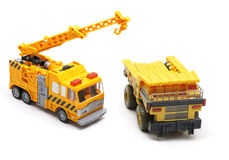 Toy Crane And Dump Truck Stock Photos