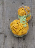 Toy crocheted pumpkin Stock Photo
