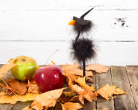 Toy crow in a cap and autumn leaves Stock Images