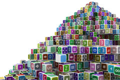 Toy Cube Hill. Toy cube blocks abstract, , 3d illustration, horizontal Stock Images