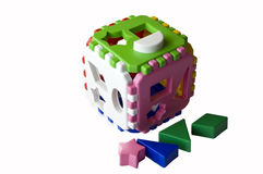Toy cube puzzle. Toy-puzzle for the development of attention in children Stock Images