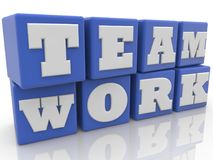 Toy cubes in blue with Team work concept Stock Image