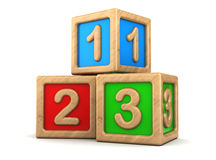 Toy cubes. 3d illustration of toy cubes with numbers signs 123 Royalty Free Stock Image