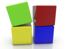 Toy cubes in different colors on white Stock Image