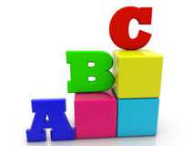 Toy cubes with letters A,B,C on white Royalty Free Stock Images