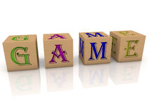 Toy cubes with message GAME Stock Image
