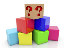 Toy cubes pyramid in various colors with question mark. In backgrounds stock illustration