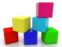 Toy cubes in six colors on white Royalty Free Stock Images