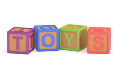 Toy cubes, toys concept. 3D rendering. On white background Royalty Free Stock Photo