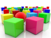 Toy cubes in various colors on white Stock Photo