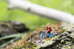 Toy cyclist ecotourism concept. A toy cyclist is taking a ride on the bark of a tree, which covered with moss. Ecotourism concept Royalty Free Stock Photography