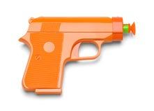 Toy Dart Gun. Orange Plastic Toy Dart Gun Isolated on White Background Stock Photography