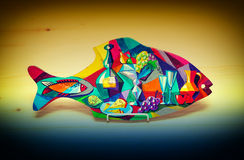 Toy decorative fish hand painted paints Royalty Free Stock Photo