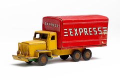 Toy delivery truck. Old metal toy delivery truck Royalty Free Stock Photography