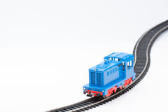 Toy diesel locomotive. Pictured items of a toy railroad Royalty Free Stock Photo