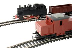 Toy Diesel Locomotive and Steam Train with freight Royalty Free Stock Photos