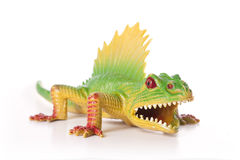 Toy Dinosaur. Green Dimetrodon toy isolated on white background Stock Photography