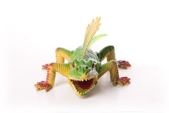Toy Dinosaur. Green Dimetrodon toy isolated on white background Stock Image