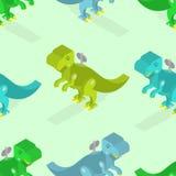 Toy dinosaur seamless pattern. Clockwork Tyrannosaurus Rex isome Stock Photo