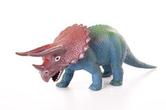 Toy Dinosaur. Toy triceratops isolated on a white background Royalty Free Stock Photography