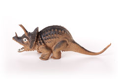 Toy Dinosaur. Triceratops dinosaur toy isolated on white background Stock Photography