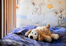 Toy dog. Plush toy dog alone in baby bed stock image