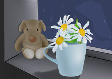 Toy dog and chamomiles Stock Images