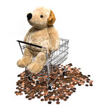 Toy Dog in Shopping Cart. Stuffed toy puppy dog in metal shopping cart on top of copper pennies royalty free stock photography