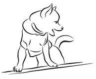 Toy dog sketch. Editable vector lineart sketch of a toy dog wearing a shirt Stock Image