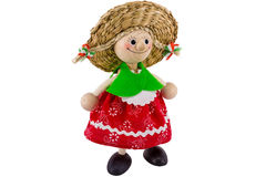 Toy doll decoration. Ethnic wooden toy doll with white background Royalty Free Stock Photos
