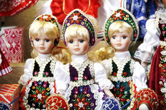 Toy dolls in authentic hungarian folk costumes Stock Photography