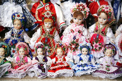 Toy dolls in authentic hungarian folk costumes Royalty Free Stock Photos