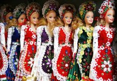 Toy dolls in authentic hungarian folk costumes Royalty Free Stock Image