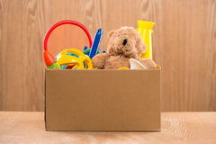 Toy. Donation box with unwanted items for poor.  stock images