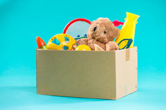 Toy. Donation box with  unwanted items for poor Royalty Free Stock Images