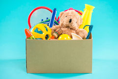 Toy. Donation box with  unwanted items for poor Royalty Free Stock Photos