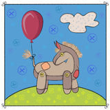 Toy donkey in the meadow. Vector illustration. EPS10 Royalty Free Stock Images