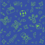 Toy doodle art for kids with blue backgrounds Stock Photo