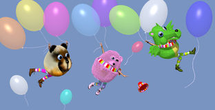 Toy dragon, hamster and bear with balloons. Toy dragon, a pink toy hamster and a toy bear with baloons flying in the air, colorful illustration, 3D illustration Royalty Free Stock Photography