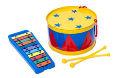 Toy drum and xylophone Stock Photos
