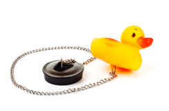 Toy duck with plug for bath Royalty Free Stock Image