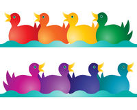 Toy ducks. An illustration of two rows of toy ducks in rainbow colors on an abstract blue wave isolated on a white background stock illustration