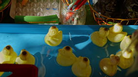 Toy ducks floating on the water.  stock video