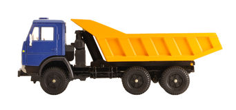 Toy dump truck collection scale model side view. Toy dump truck collection scale model isolated on white background side view Stock Photo
