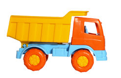 Toy dumper truck side view Royalty Free Stock Photos