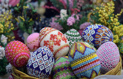 Toy Easter eggs. Decorated with beads, in the shop stock photos