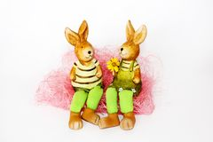 Toy Easter rabbits in love Stock Photos