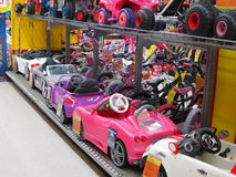 Toy electric cars in a toy store. Stock Image