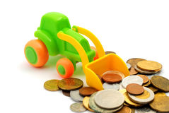 The toy excavator loads money Stock Images