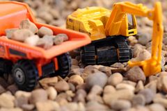 Toy excavator and tipper truck Royalty Free Stock Photography